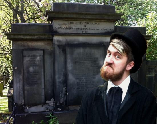 Alexander Clapperton visits his grave