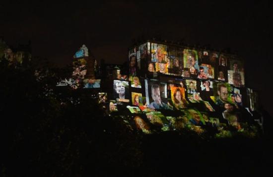 Adam Lyal (centre) during Deep Time show at Edinburgh Castle