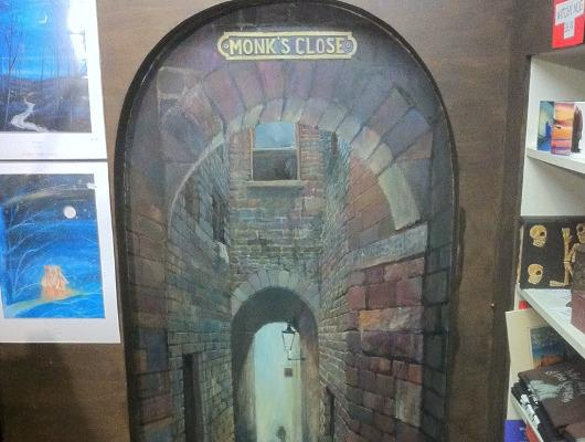 Monk's Close painting in the Cadies & Witchery Tours shop, 84 West Bow, Edinburgh