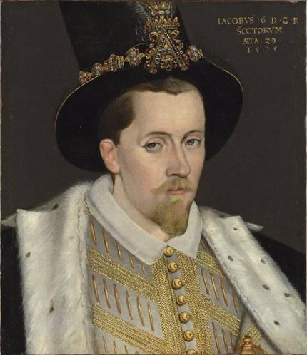 Portrait of James VI in 1595, looking suitably austere.
