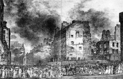 The Great Fire, as seen from the Lawnmarket