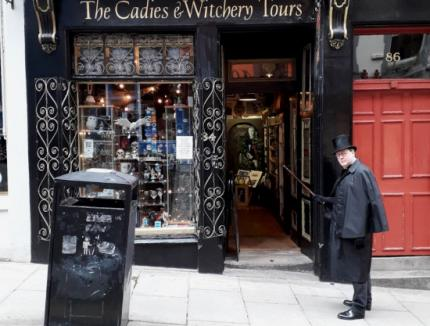 Alexander Clapperton in front of the Witchery Tours shop