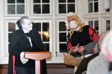 Robin Mitchell as Adam Lyal and Cameron Pirie as Agnes Fynnie at the Loretto Lecture